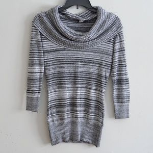 Black and Silver Cowl Neck Sweater